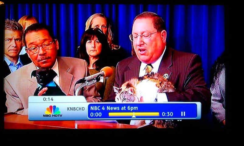 Councilmember Paul Koretz, Eileen and Brad Smulson, at City Hall, regarding the Hayden Act, to protect shelter animals.