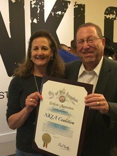 Councilmen Paul Koretz presents OBOL with a certificate of appreciation for our efforts to make LA a no-kill city, part of the NKLA initiative.