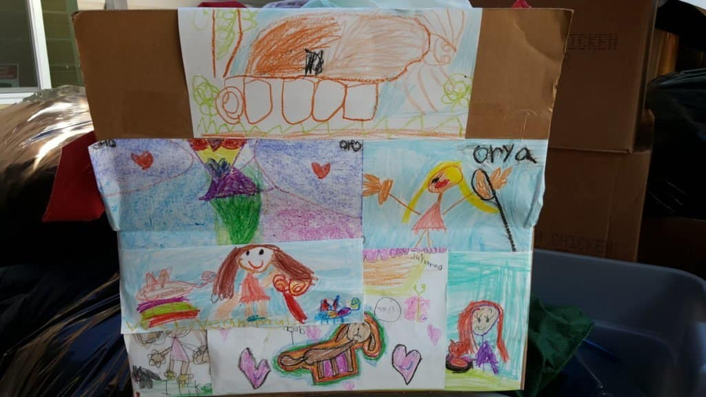 Colorful drawings to decorate their OBOL donation box from 1st graders