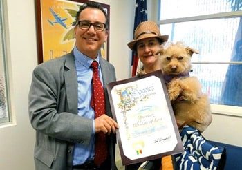 OBOL is receiving the Certificate of Appreciation from the City of Los Angeles and the West San Fernando Councilmember Bob Blumenfield. His community did a successful collection of pet items and held a pet adoption event getting dogs new homes.