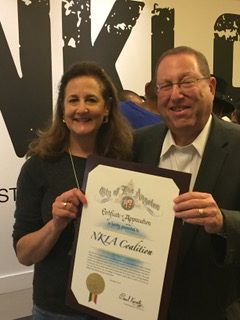 Councilmen Paul Koretz presents OBOL with a certificate of appreciation for our efforts to make LA a no-kill city, part of the NKLA initiative.