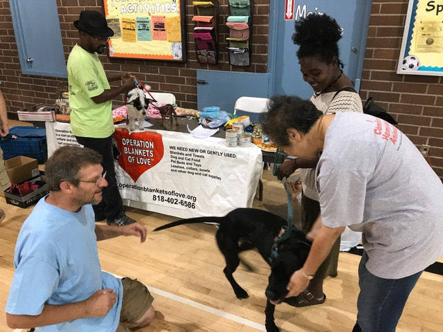 OBOL volunteer gives a homeless lady large dog kibble, a harness and more!